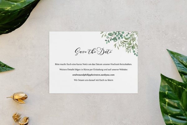Save the Date-Karten Greenery Verspielt Save the Date Karten