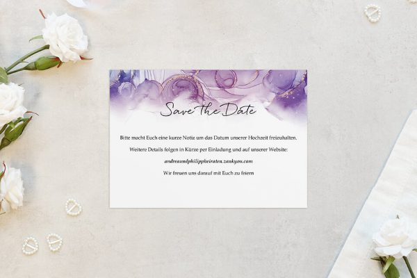 Save the Date-Karten Batik Gold gepunktet Save the Date Karten
