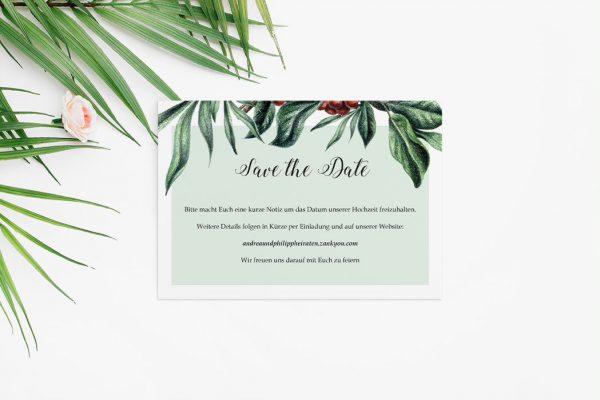 Save the Date-Karten Tropical Sorbus aucuparia Save the Date Karten
