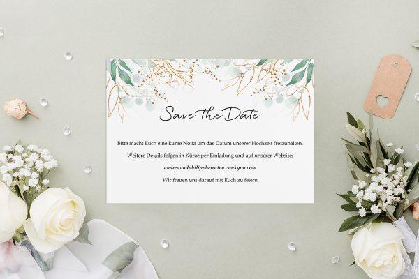 Save the Date-Karten Minimalistischer Kranz Wiesengrün Save the Date Karten