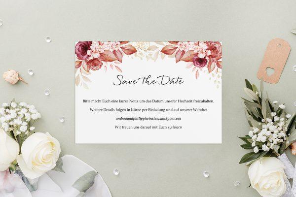 Save the Date-Karten Minimalistischer Kranz Rosa Eleganz Save the Date Karten