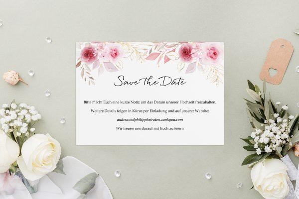 Save the Date-Karten Minimalistischer Kranz Zart Rosa Save the Date Karten