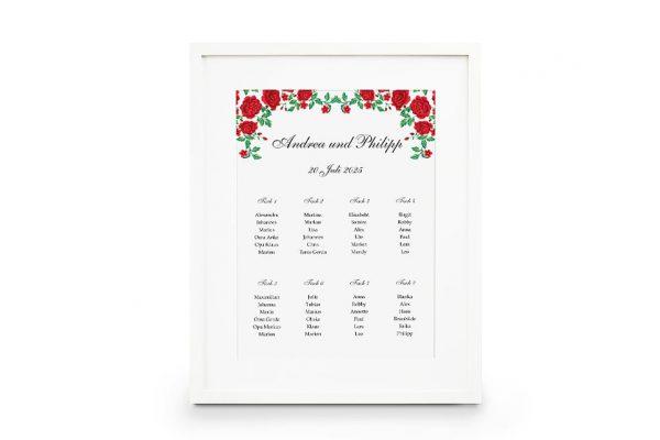 Extras Blumenherz Rote Rosen Sitzplan Hochzeit