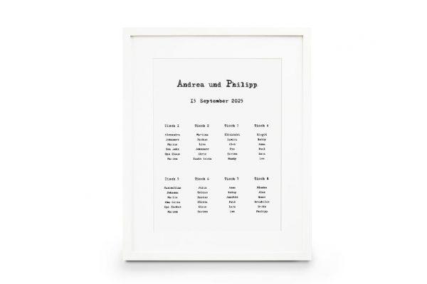 Extras Kalligraphie Vintage Sitzplan Hochzeit