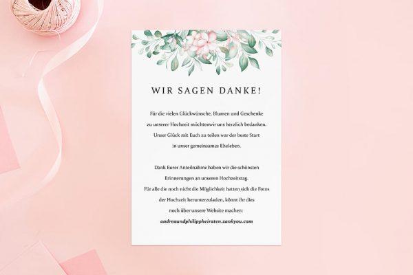 Dankeskarten zur Hochzeit Rosenpracht Kunstvoll Dankeskarten