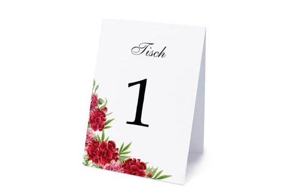 Extras Blumenherz Nelken Tischnummern
