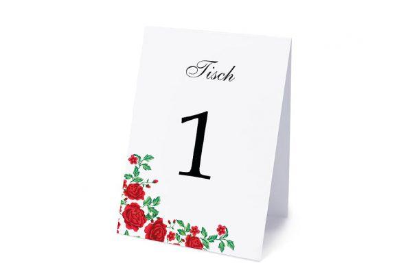 Extras Blumenherz Rote Rosen Tischnummern
