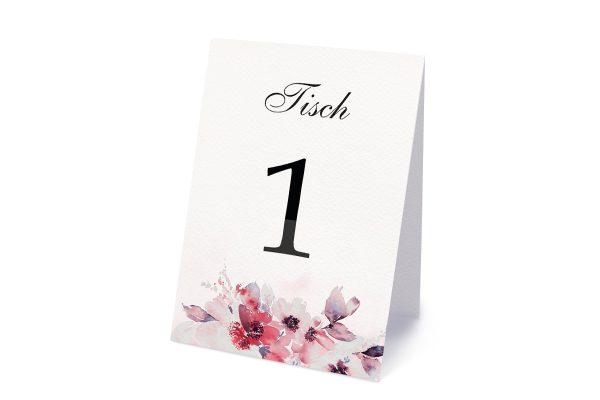Extras Aquarell Rosa Tischnummern