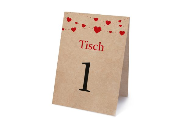Extras Fingerabdruck Simple Love Tischnummern