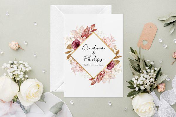 Hochzeitseinladungen Hochzeitseinladungen Minimalistischer Kranz Rosa Eleganz