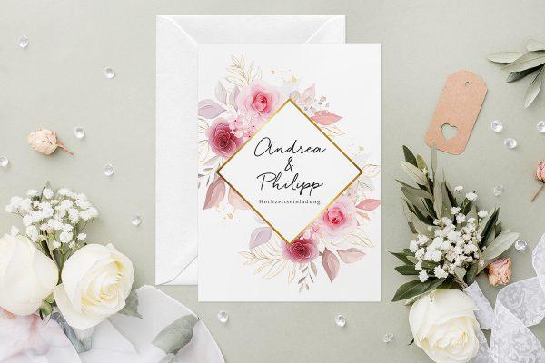 Hochzeitseinladungen Hochzeitseinladungen Minimalistischer Kranz Zart Rosa