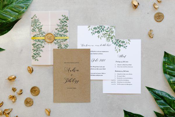 Hochzeitseinladungen Hochzeitseinladungen Greenery Verspielt