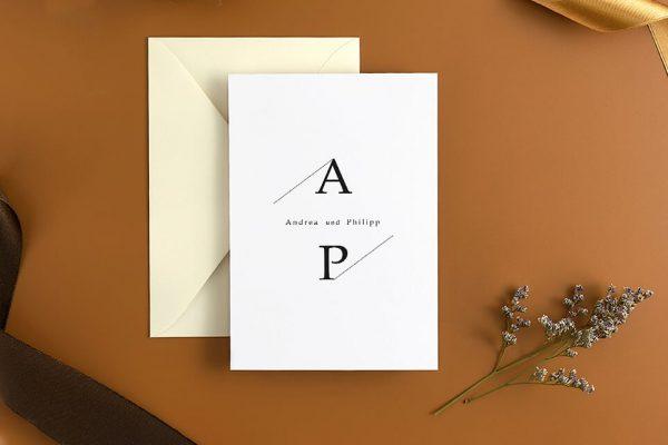 Hochzeitseinladungen Hochzeitseinladungen Modern Monogramm quadratisch