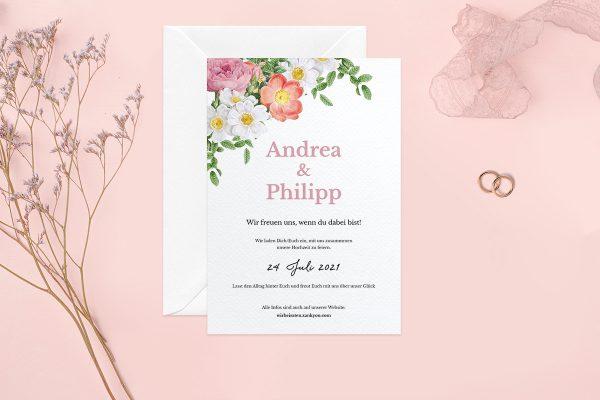 Hochzeitseinladungen Hochzeitseinladungen Blumenbeet Apart