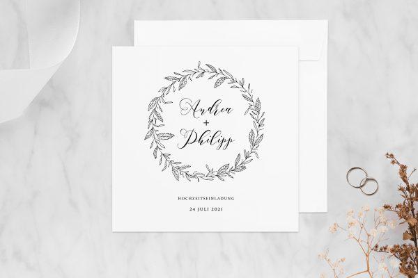 Hochzeitseinladungen Hochzeitseinladungen Rosenpracht mit Blättern