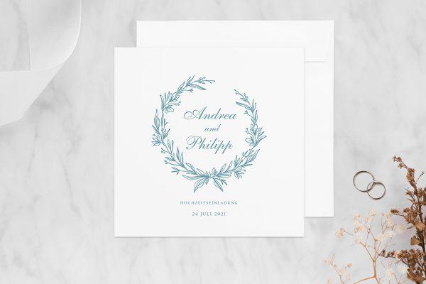 Hochzeitseinladungen Hochzeitseinladungen Rosenpracht mit Ehrenkranz
