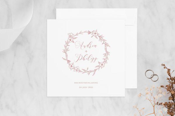 Hochzeitseinladungen Hochzeitseinladungen Rosenpracht mit Korn