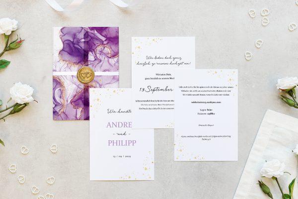 Hochzeitseinladungen Hochzeitseinladungen Batik Veilchenblau