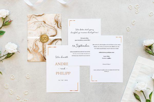 Hochzeitseinladungen Hochzeitseinladungen Batik Marmor