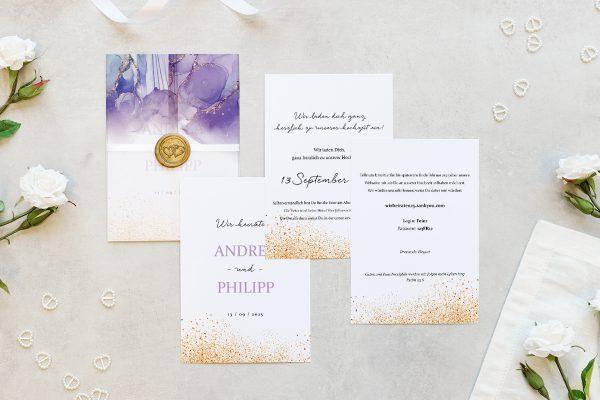 Hochzeitseinladungen Hochzeitseinladungen Batik Gold gepunktet