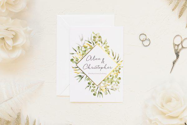 Hochzeitseinladungen Hochzeitseinladungen Blumenkranz Sonnenschein