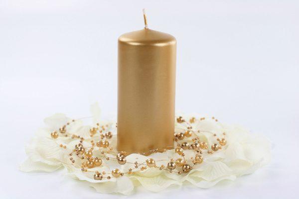 Deko und Geschenke Shop Stumpenkerze Gold