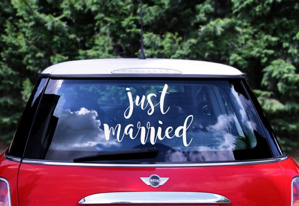 Autoschmuck Hochzeit Autoaufkleber - Just married - Hochzeitstag