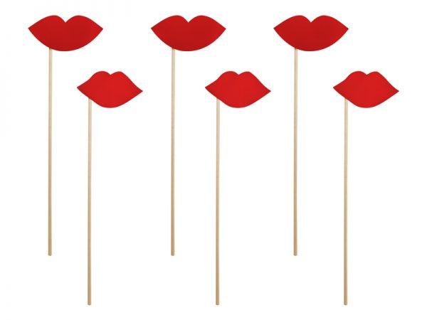 Deko und Geschenke Shop Rote Lippen auf Stab für die Fotoecke