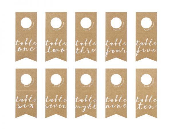 Deko und Geschenke Shop Tischnummern - Flaschenaufhänger