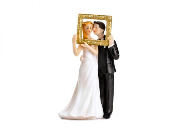 Deko und Geschenke Shop Cake Topper Newly-weds in einem goldenen Fotorahmen